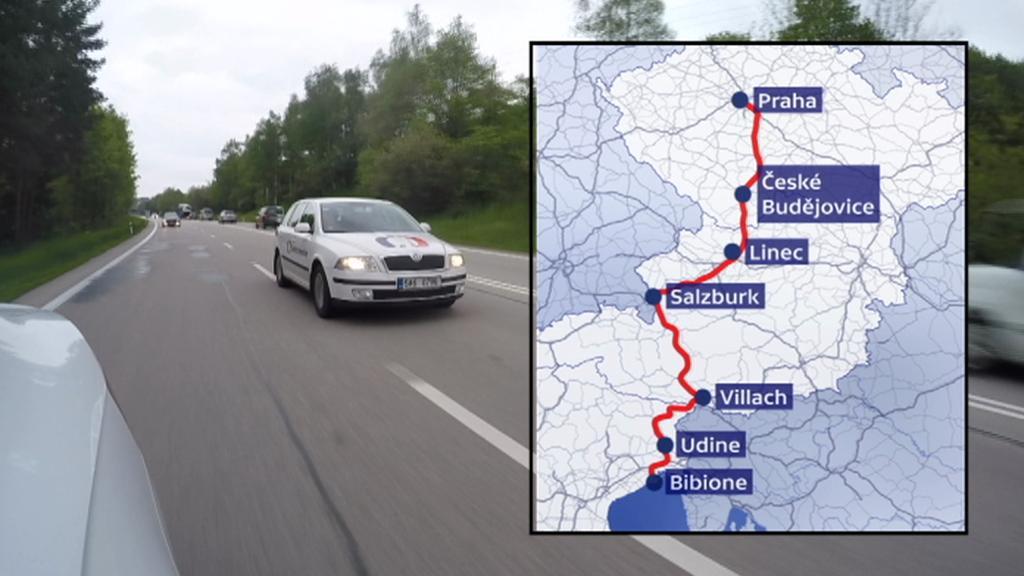Cesta štábu ČT z Prahy do italského Bibione