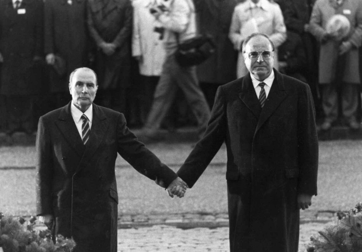 Francois Mitterand a Helmut Kohl