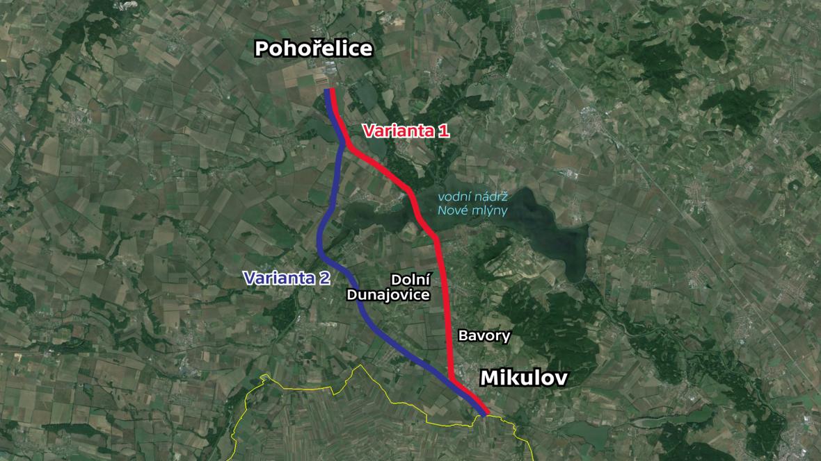 Varianty plánované trasy D52