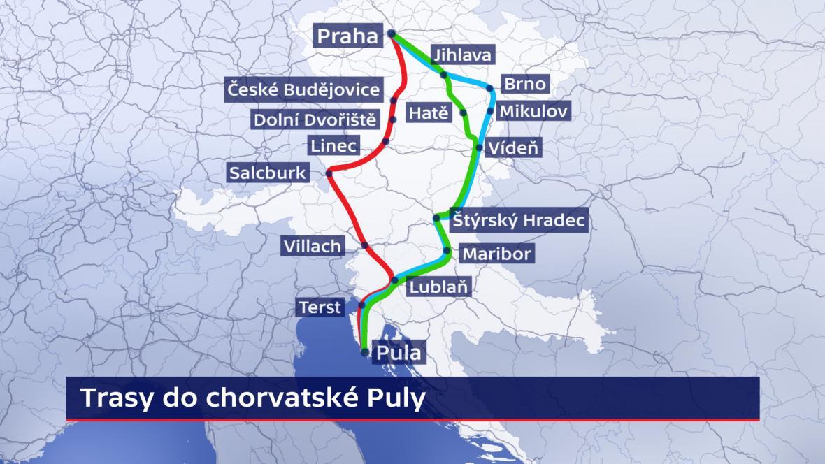 Alternativní trasy do chorvatské Puly
