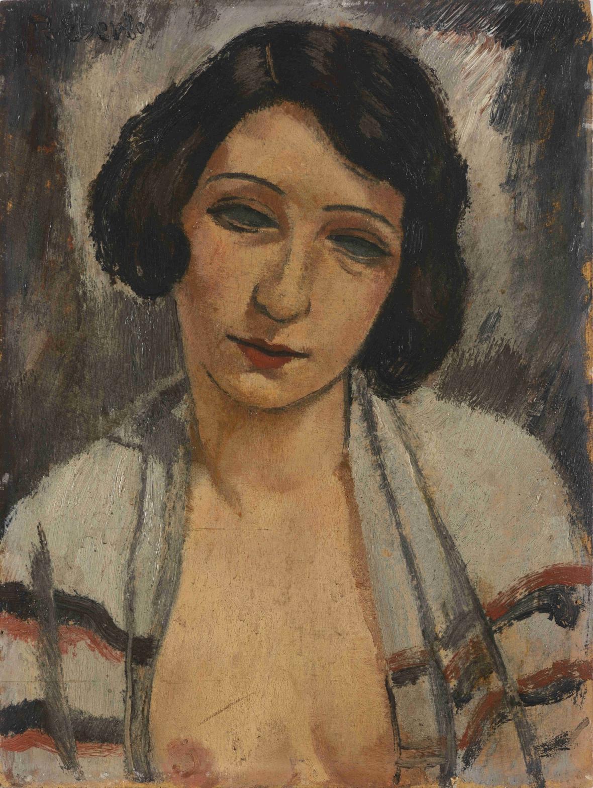 František Eberl / Dívka s rozepnutou blůzou, 20-30. léta 20. století