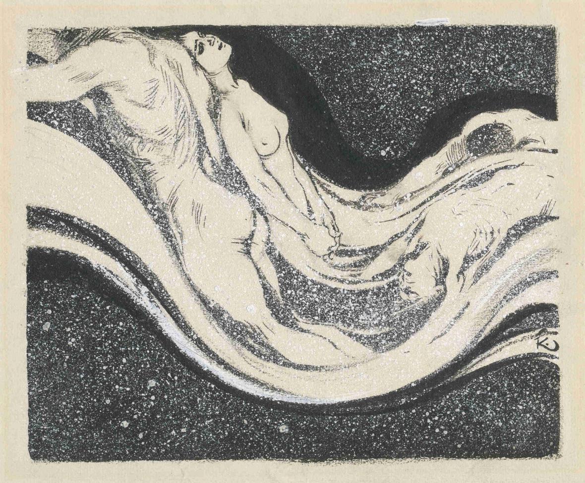 František Kupka / Členění a rytmus dějin (Vlna), ze souboru 106 ilustrací díla Elisée Recluse Člověk a země, 1904-1905
