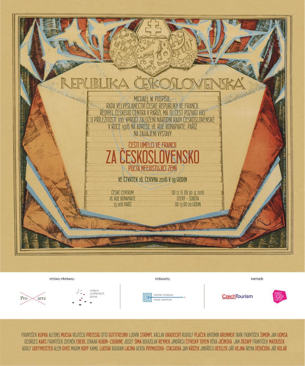 Plakát výstavy Za Československo - pocta neexistující zemi (České centrum Paříž)
