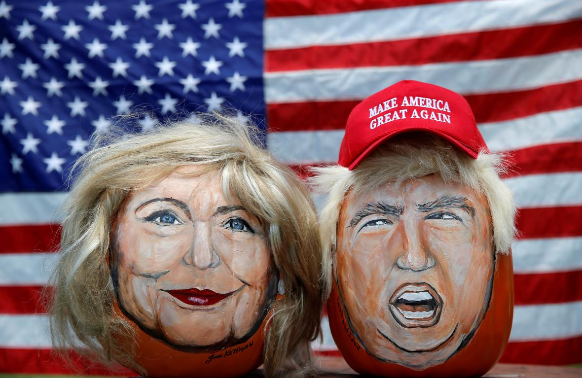 Podobizny Donalda Trumpa a Hillary Clintonové