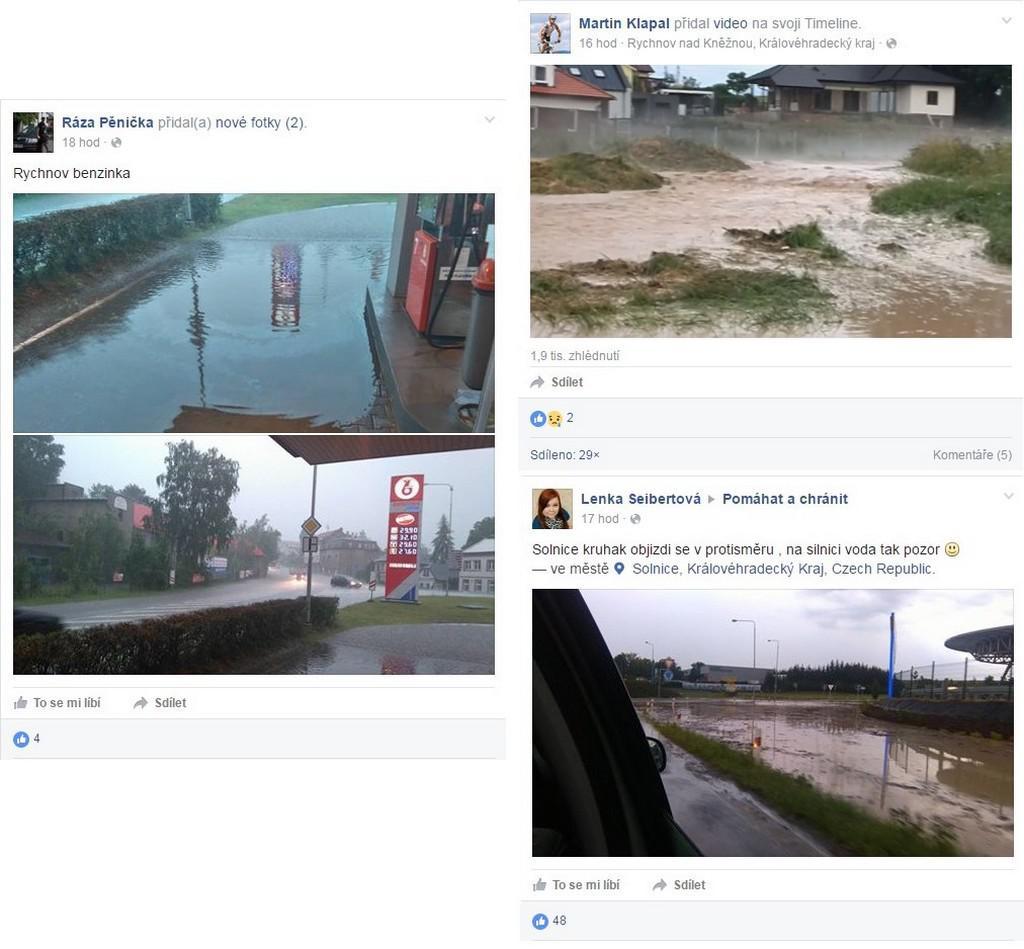 Následky deště na Rychnovsku pohledem uživatelů sociálních sítí