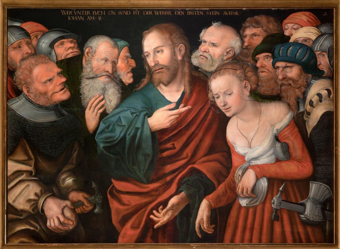 Lucas Cranach starší a dílna / Cizoložnice před Kristem