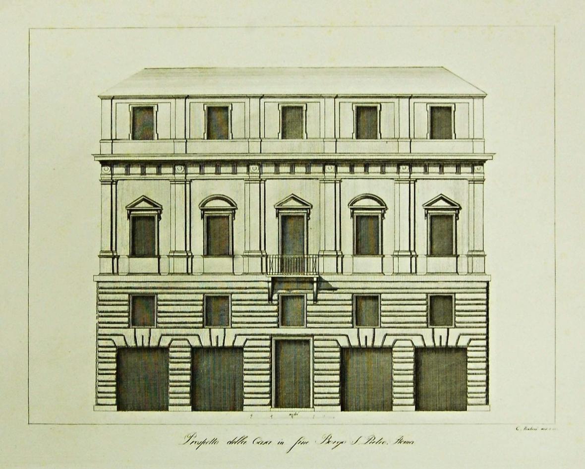 Fasáda domu v Borgo S. Pietro v Římě