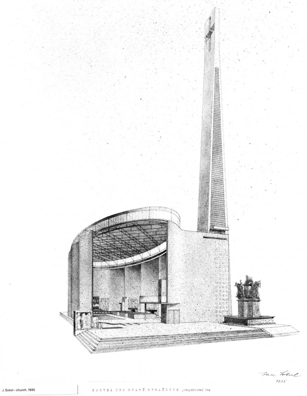 Jan Sokol: Návrh kostela pro Strašnice, 1935