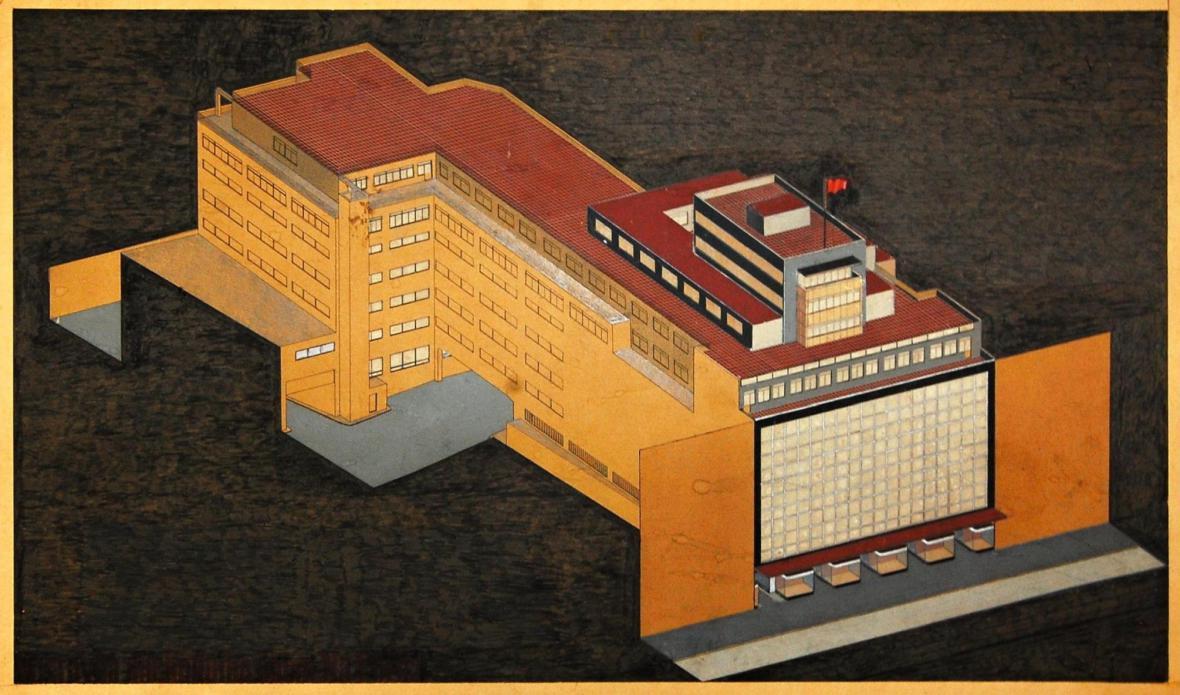 Josef Hrubý, Josef Kittrich: Návrh obchodního domu Bílá labuť v Praze, 1936