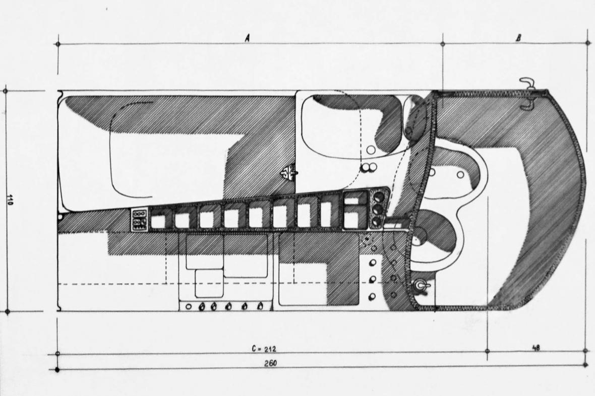 Karel Janů: Návrh bytového jádra, 1945