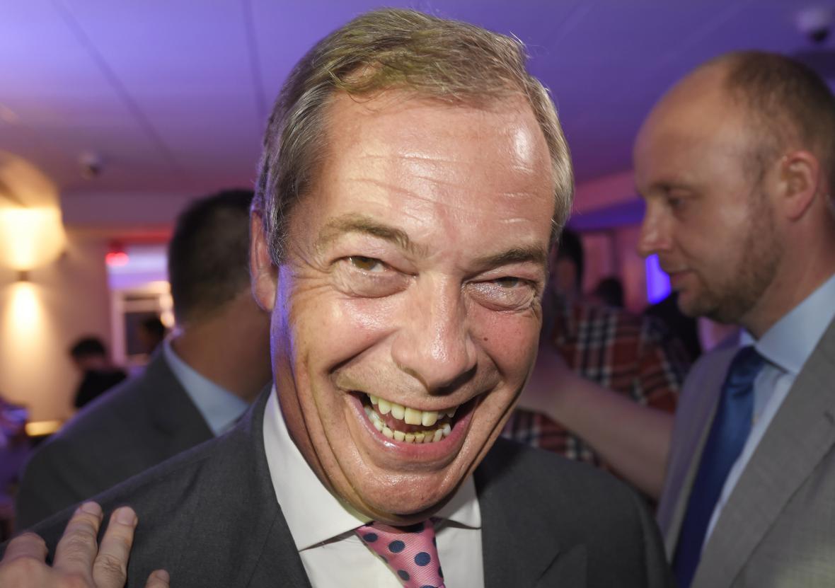 Nigel Farage na setkání zastánců odchodu z EU