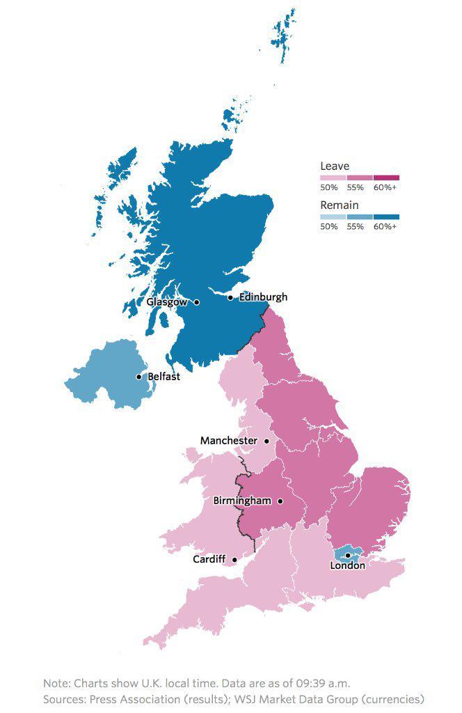 Jak hlasovaly regiony ve Velké Británii?