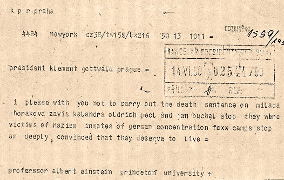 Telegram Alberta Einsteina Klementu Gottwaldovi