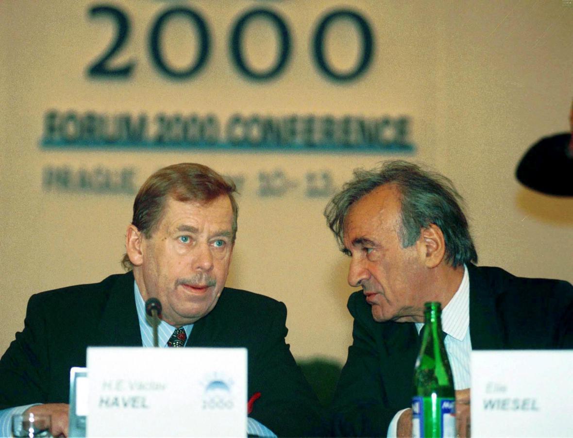 Václav Havel a Elie Wiesel v roce 2000