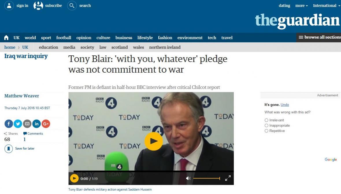Britský The Guardian o zprávě k invazi do Iráku