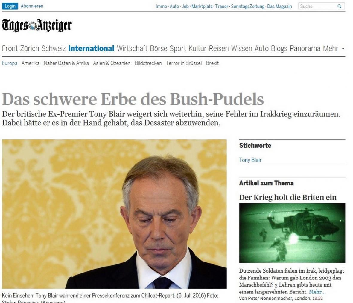 Tages-Anzeiger píše o bbritské vyšetřovací zprávě