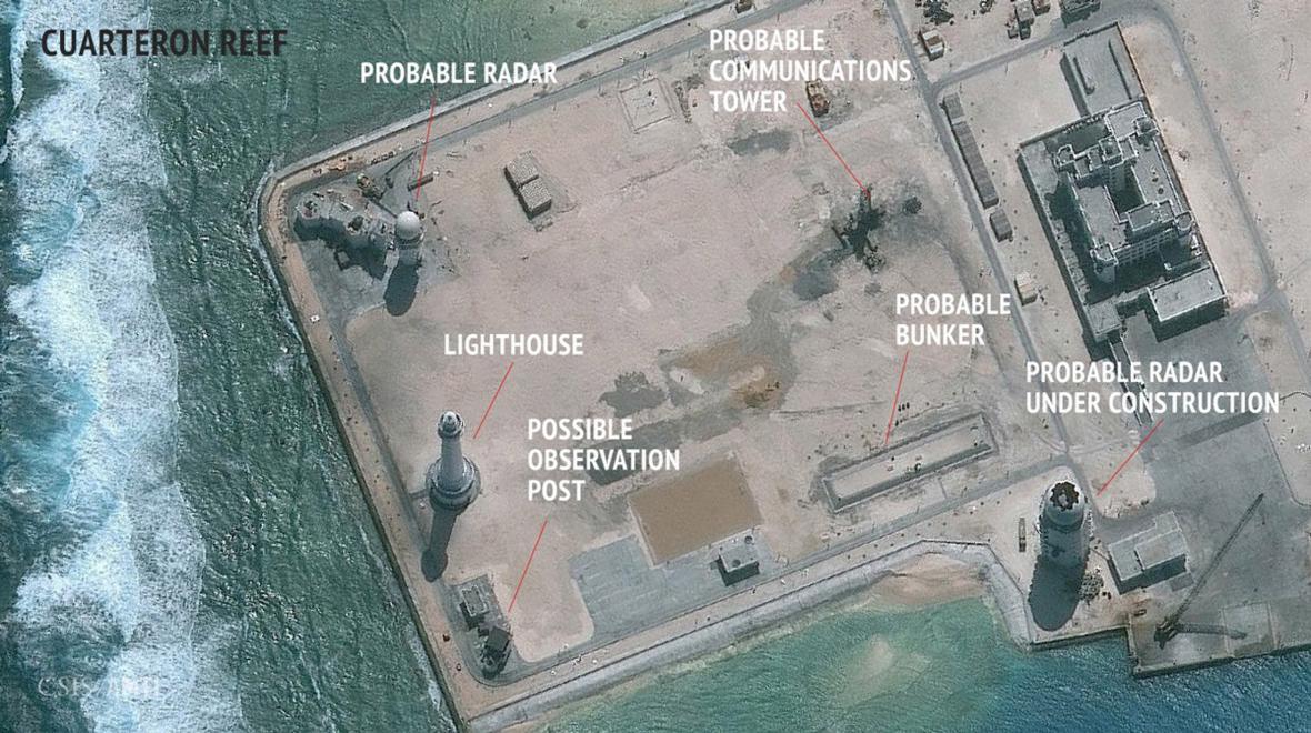 Satelitní obrázky jedné z předpokládaných čínských základen