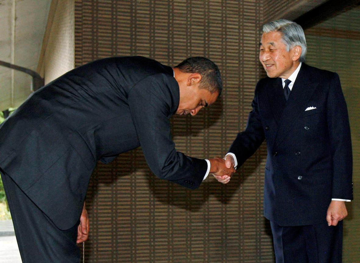 Císař Akihito s Barackem Obamou