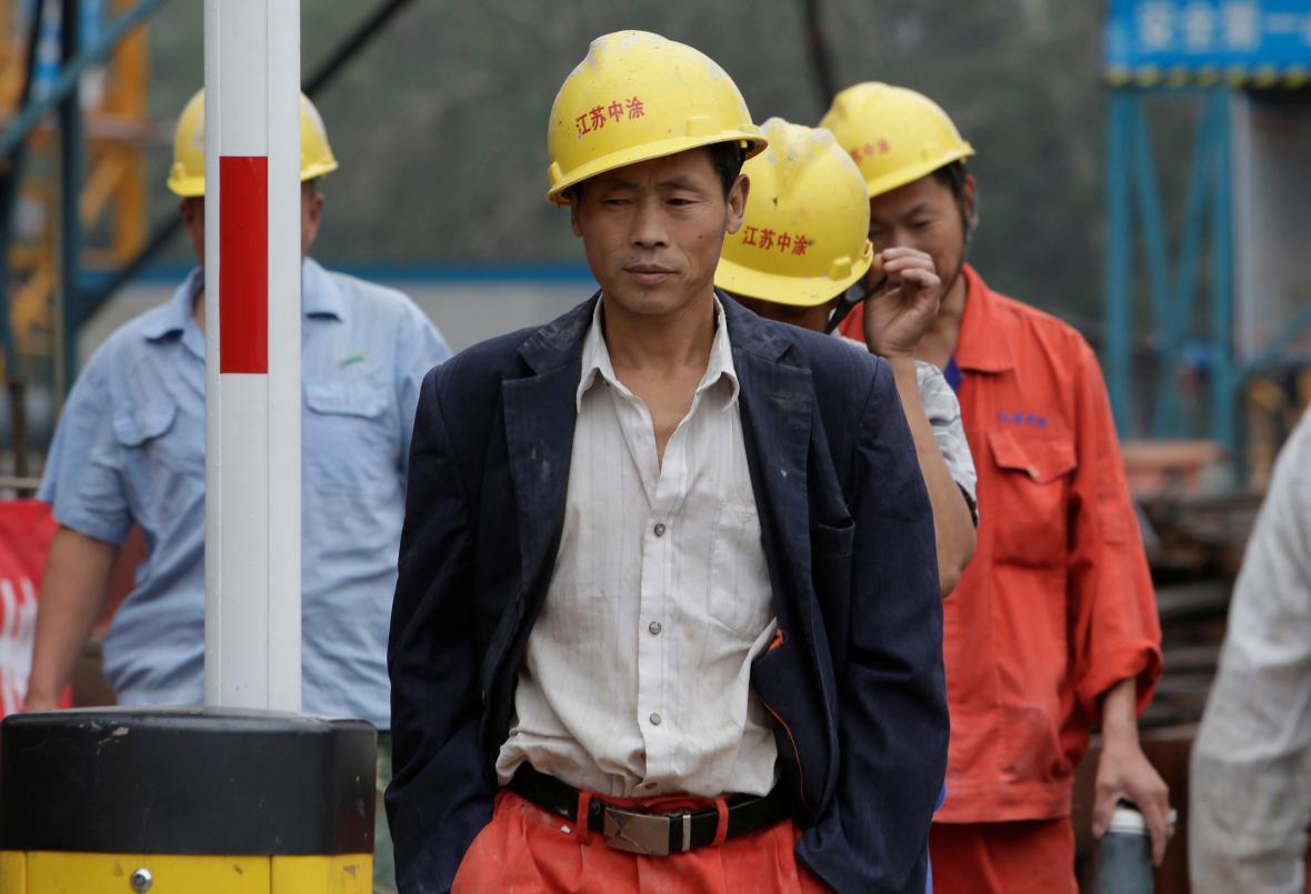 Čínští dělníci na stavbě v Pekingu