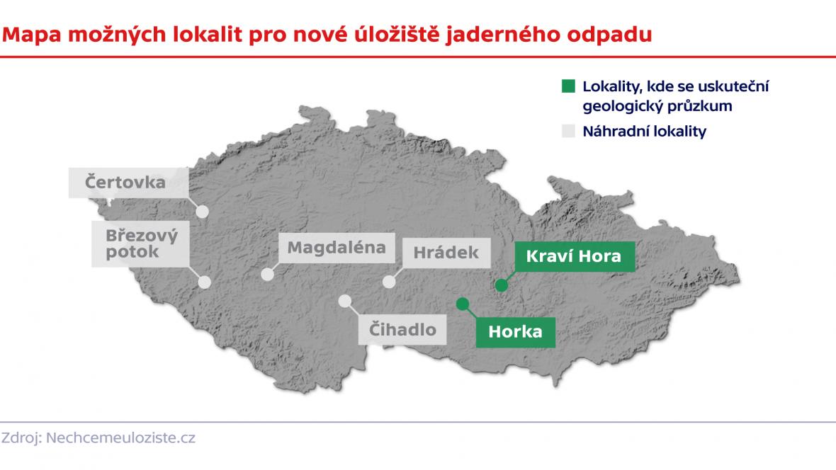 Mapa možných lokalit pro nové úložiště jaderného odpadu