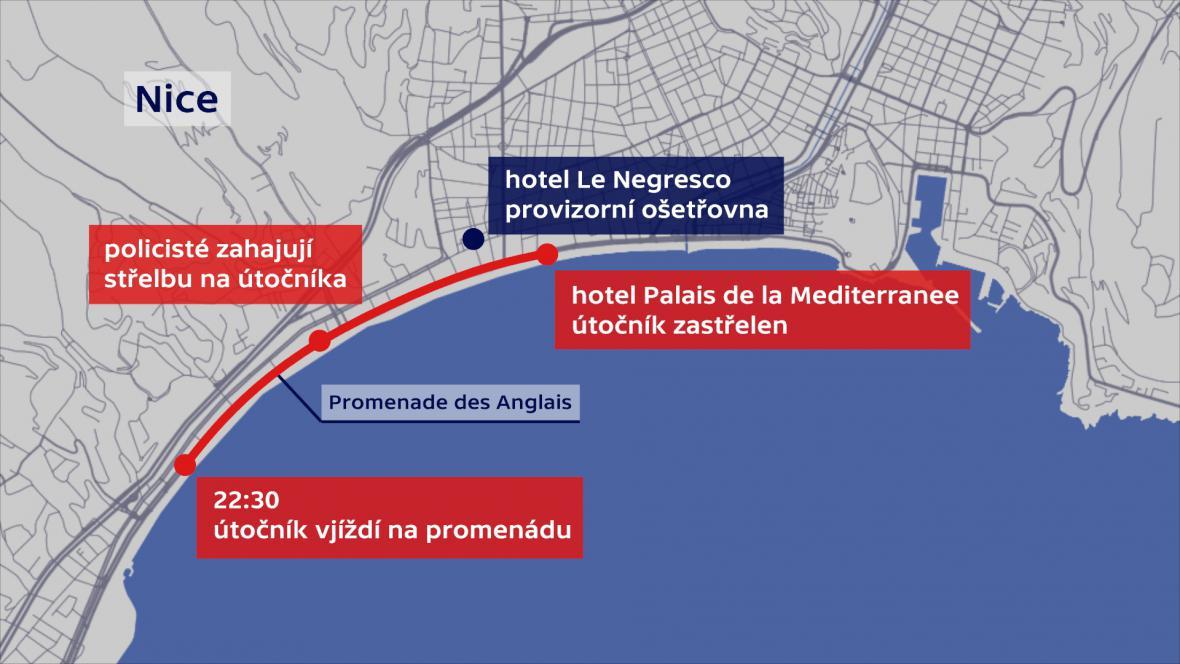 Průběh útoku v Nice