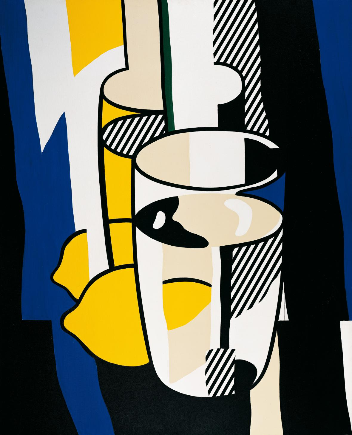 Roy Lichtenstein / sklenice a citron před zrcadlem, 1974