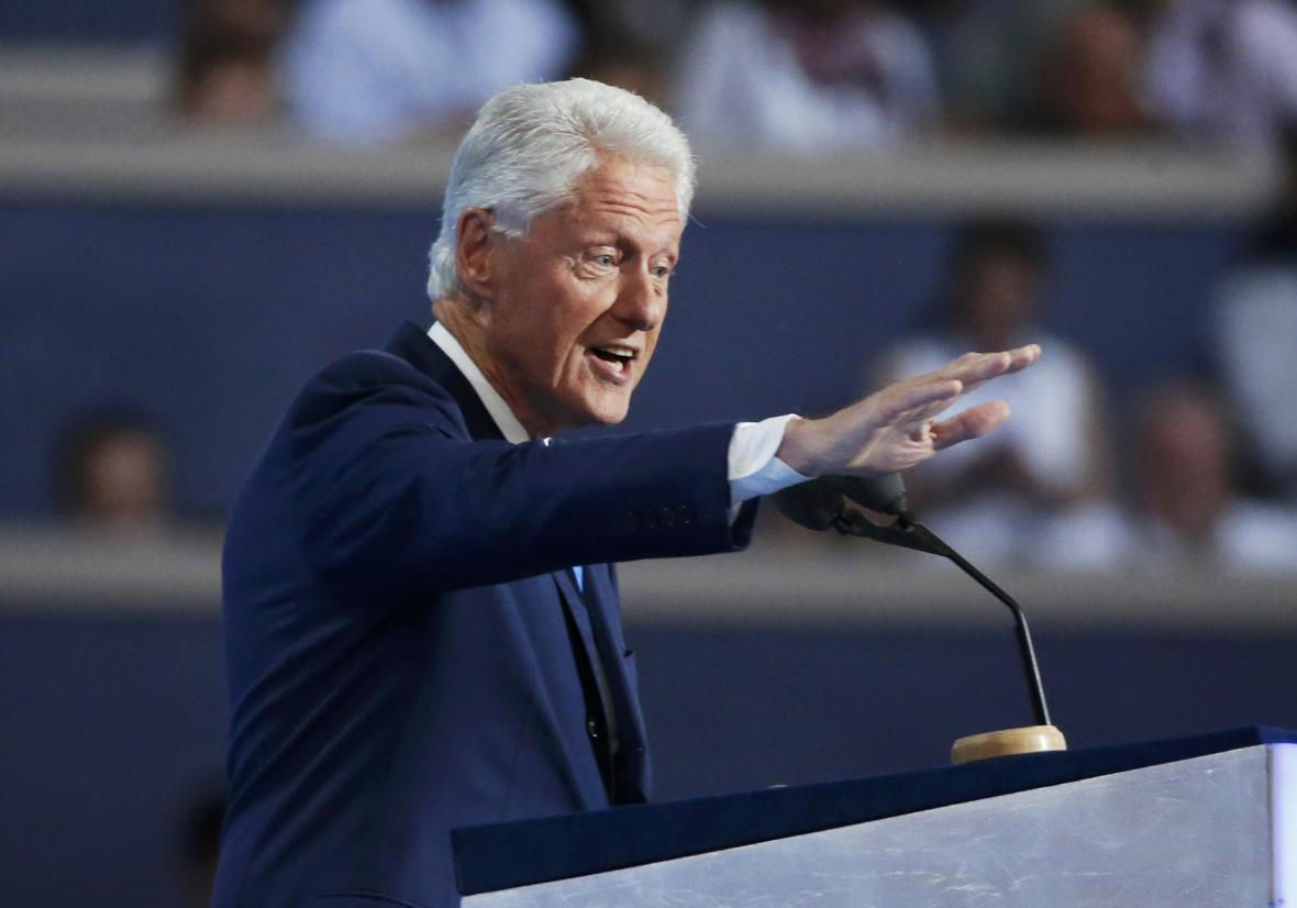 Bill Clinton na sjezdu ve Filadelfii