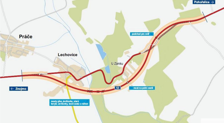 Mapa plánovaného obchvatu Lechovic
