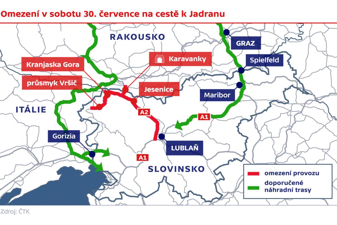 Omezení na cestě k Jadranu v sobotu 30. července