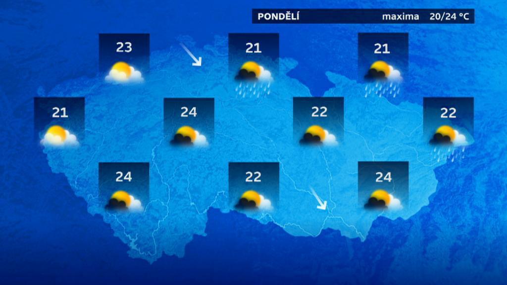 Předpověď počasí pro pondělí