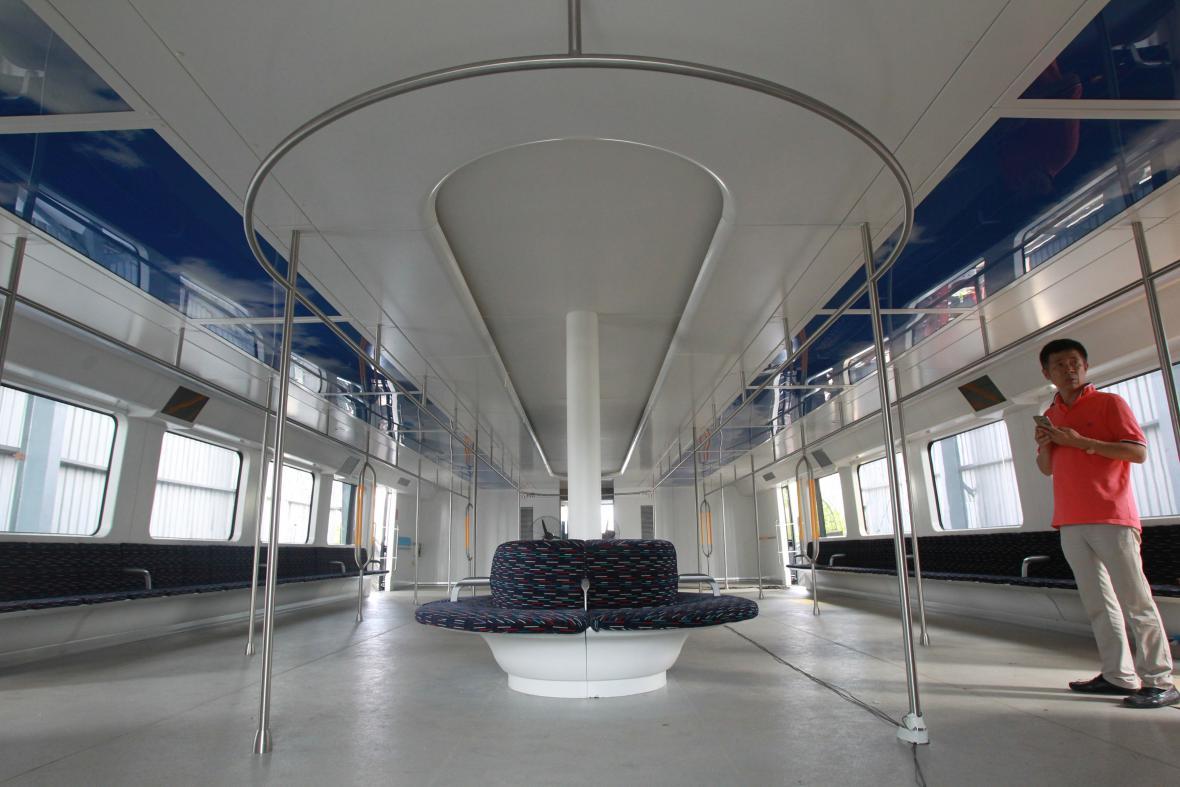 Interiér čínského elektrobusu