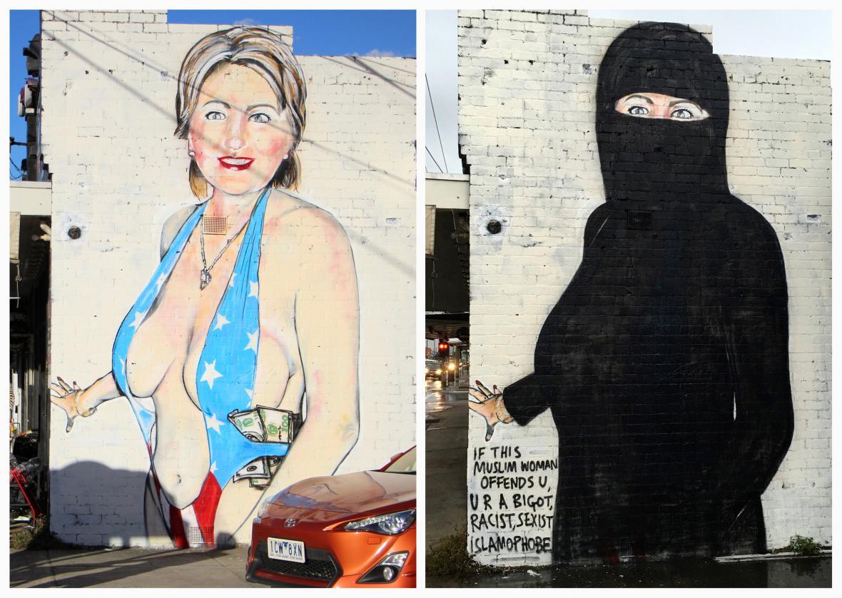 Pouliční umělec udělal z obnažené Clintonové muslimskou ženu