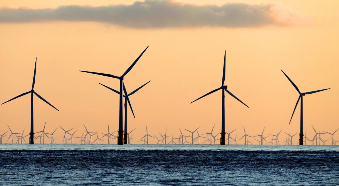 Větrné elektrárny u britských břehů