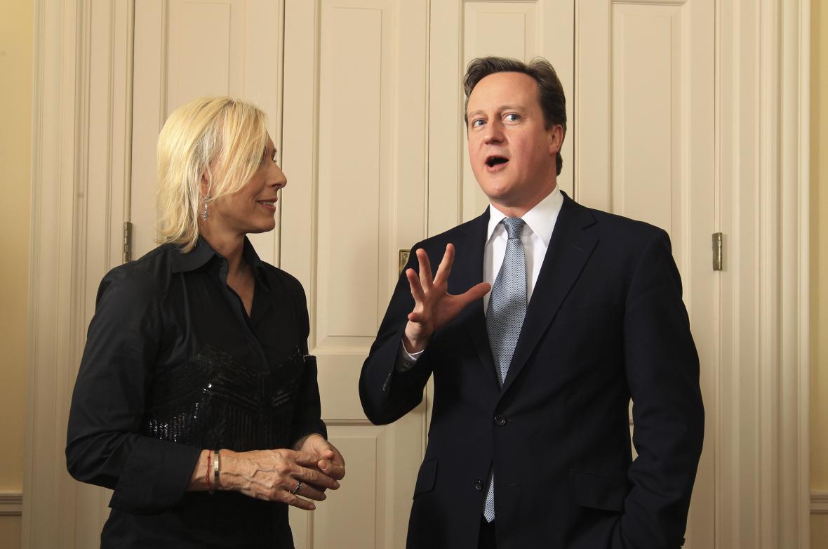 Martina Navrátilová a David Cameron