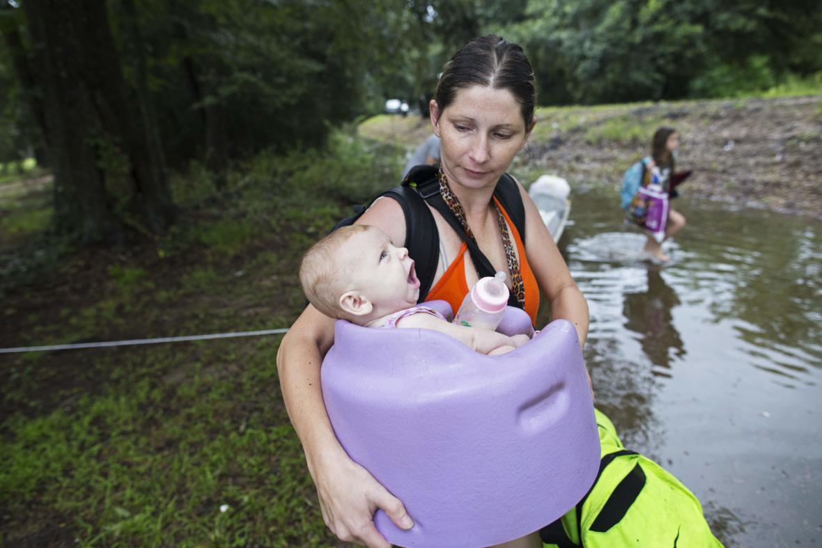 Evakuace při záplavách v Louisianě