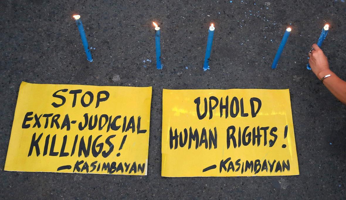 Protesty na Filipínách proti tamním mimosoudním popravám