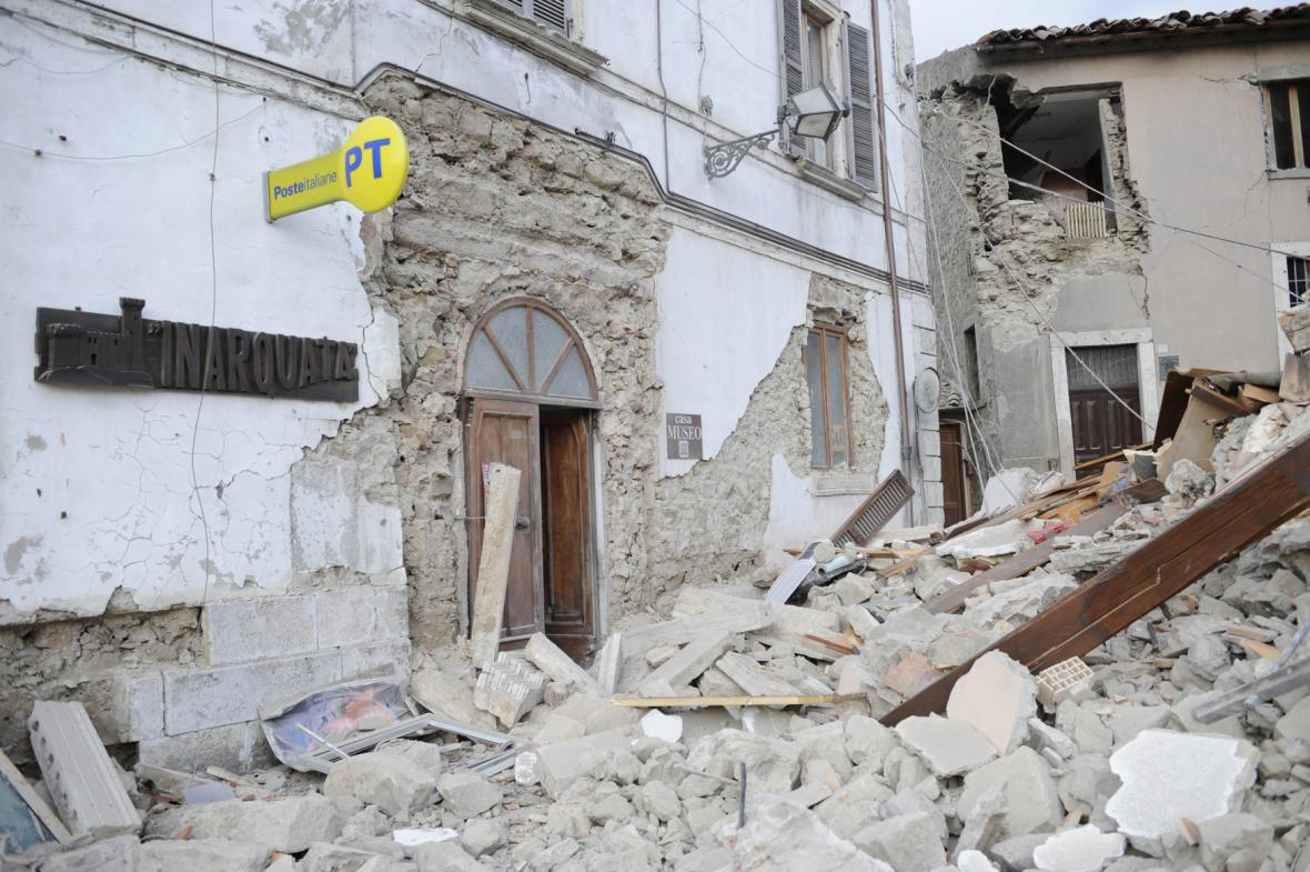 Pošta v v městečku Arquata del Tronto
