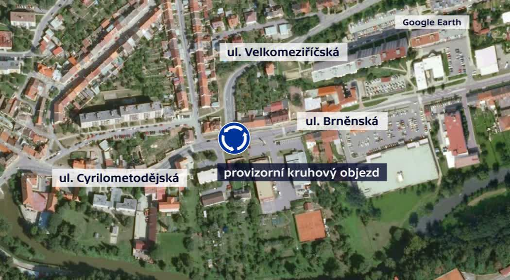 Mapa umístění provizorního kruhového objezdu