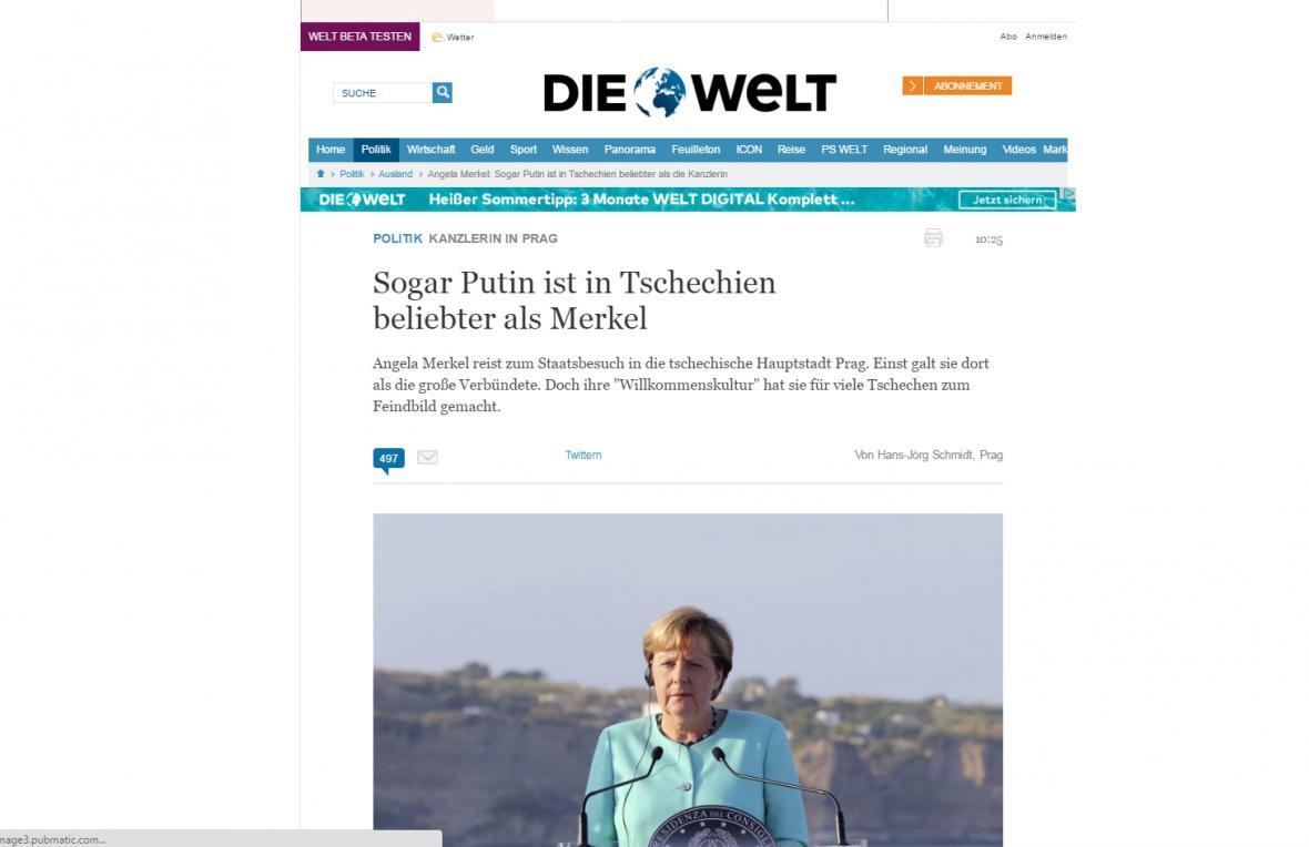 Die Welt o návštěvě Merkelové v Praze