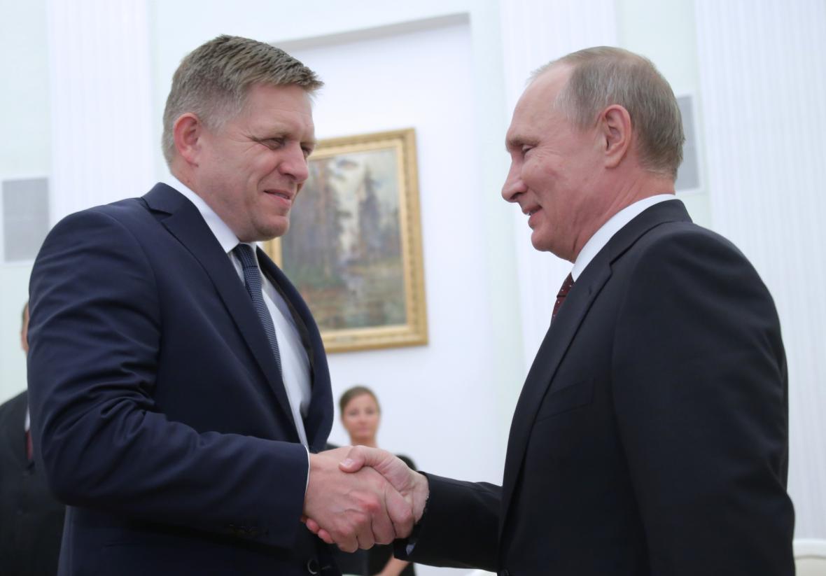 Robert Fico při jednání s ruským prezidentem Putinem