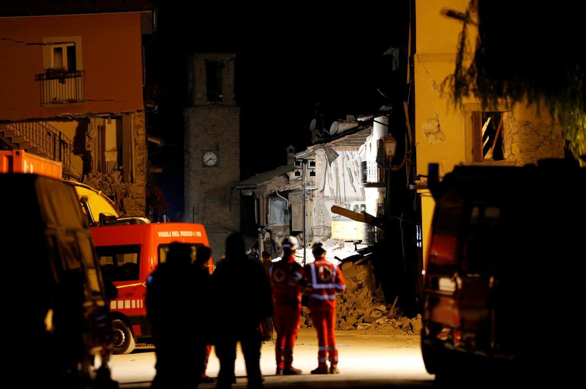 Záchranné práce v italském Amatrice