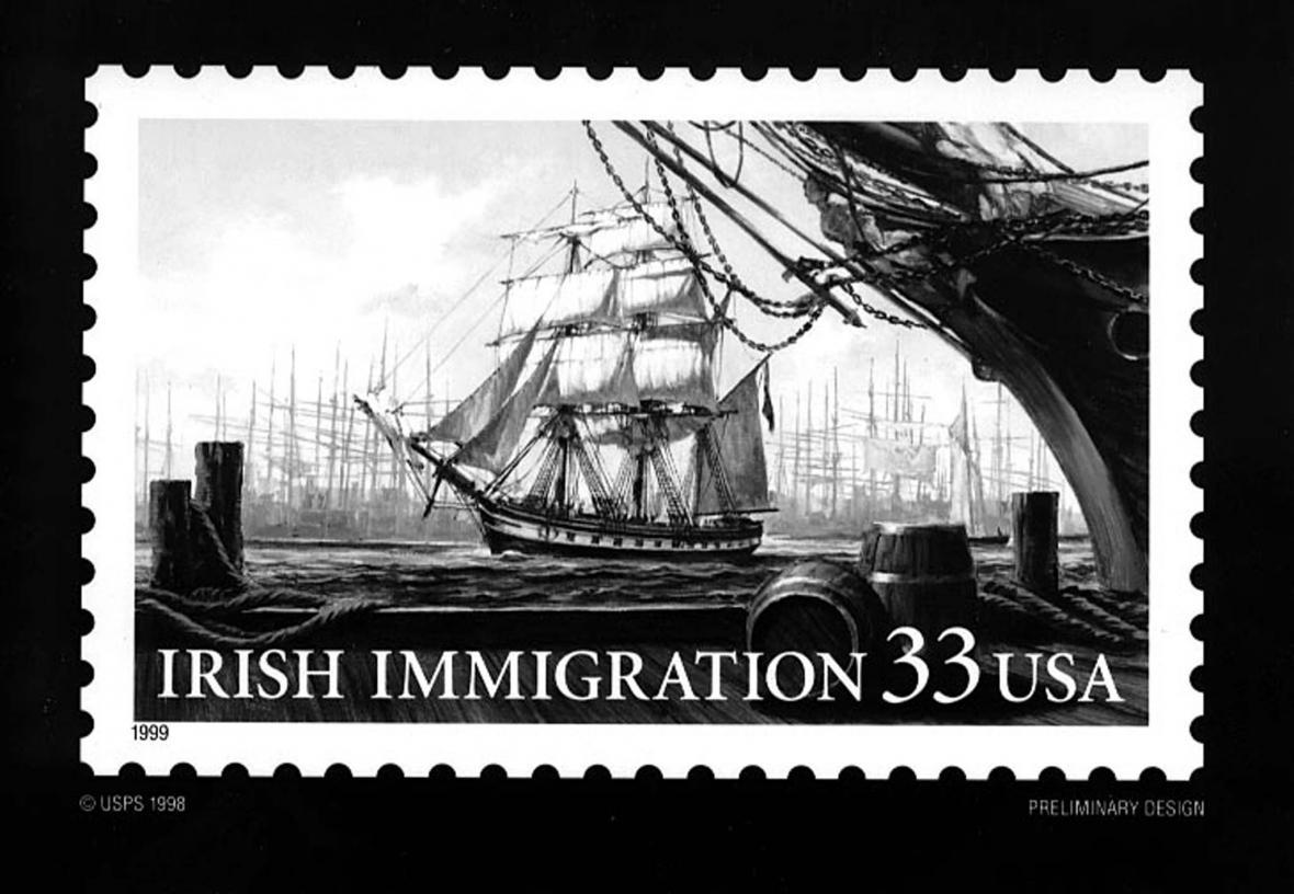 Upomínka na masovou migraci Irů do USA