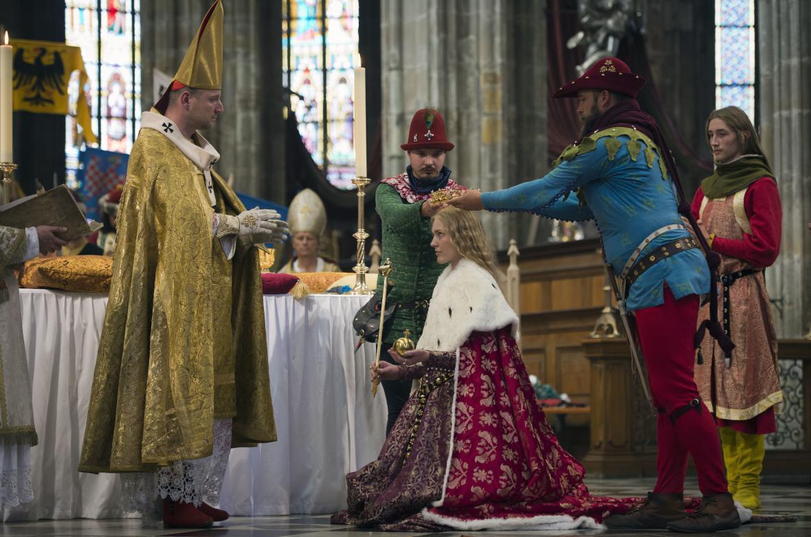Rekonstrukce korunovace Blanky z Valois na českou královnu