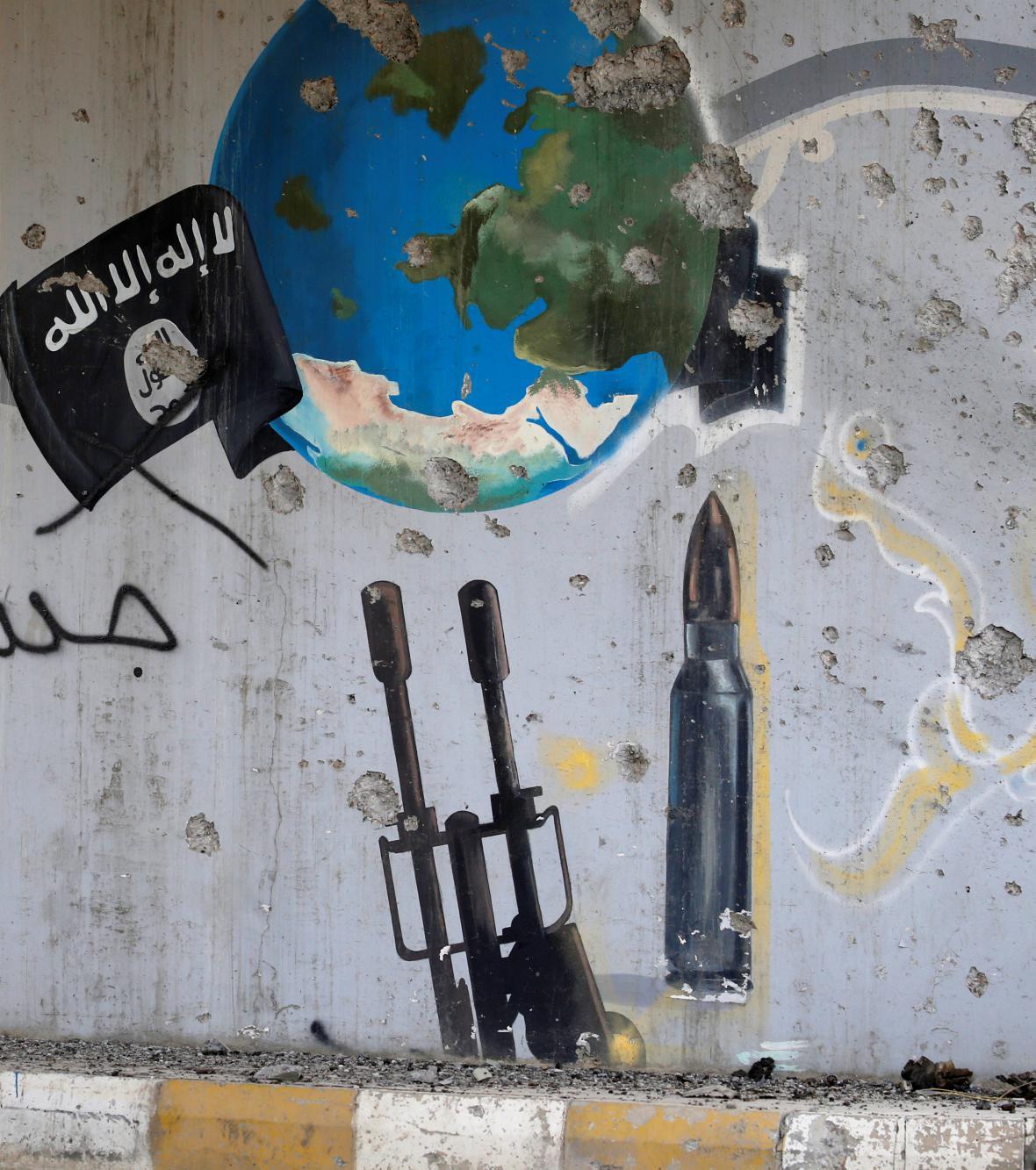 Zeď pomalovaná islamisty ve Fallúdži