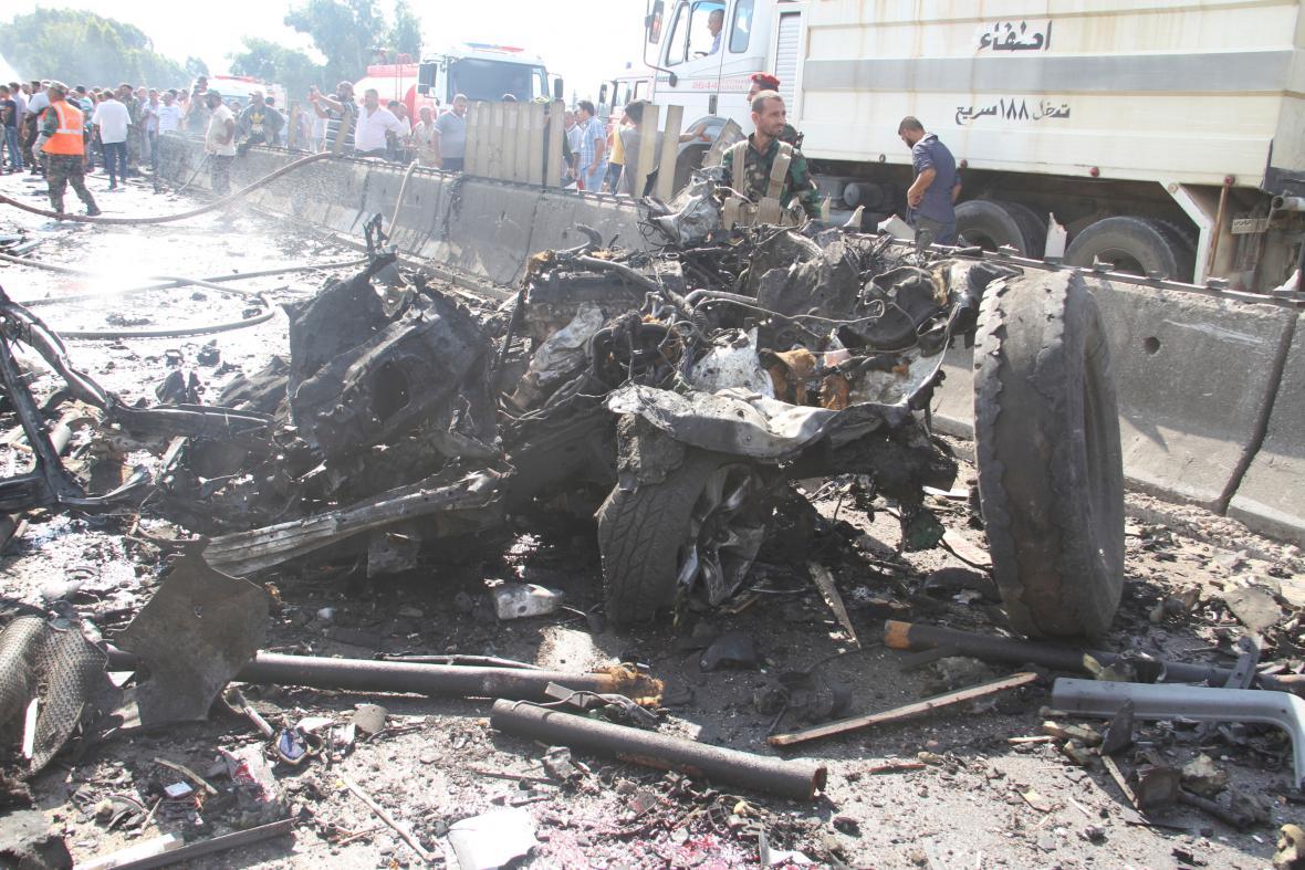 Následky výbuchu u syrského Tartúsu