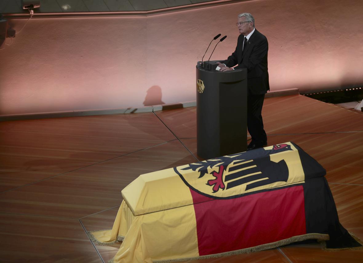 Joachim Gauck během smutečního projevu