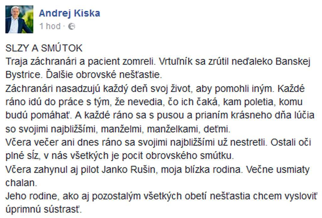 Vyjádření soustrasti prezidenta Andreje Kisky