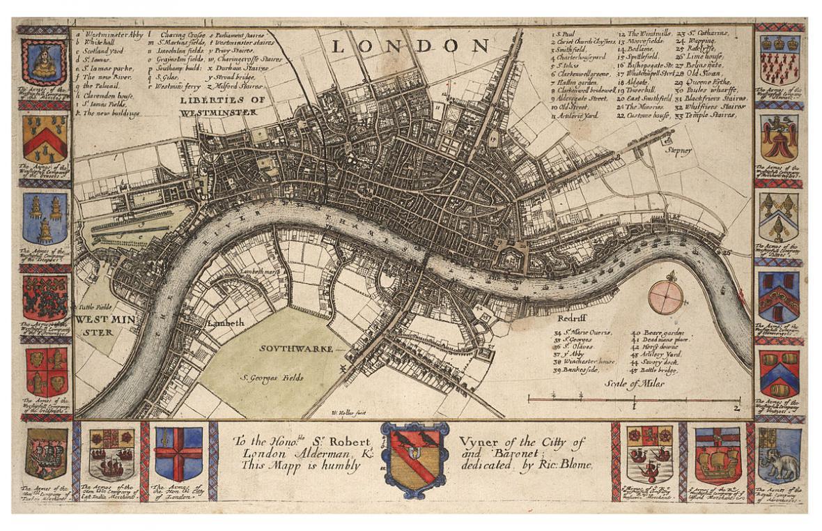 Mapa Londýna v době morové epidemie od Čecha Václava Hollara