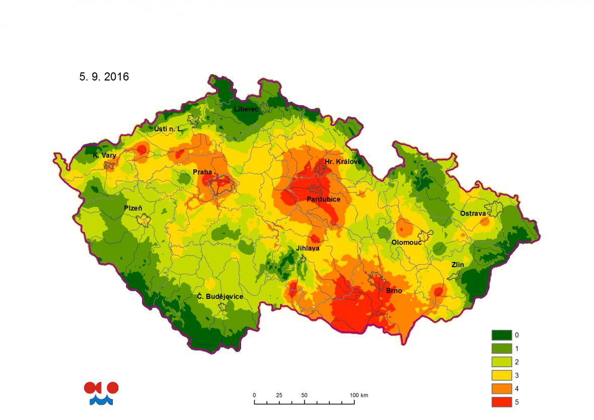 Míra ohrožení půdním suchem ve vrstvě 0 až 100 cm