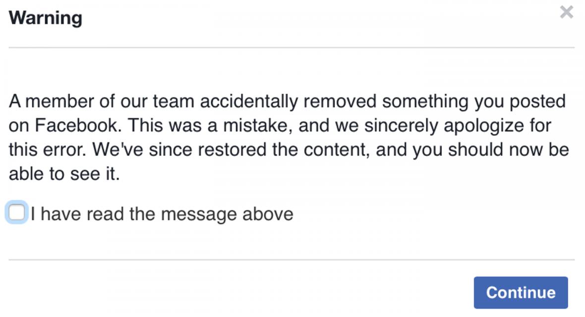 Oznámení Facebooku o smazaném příspěvku
